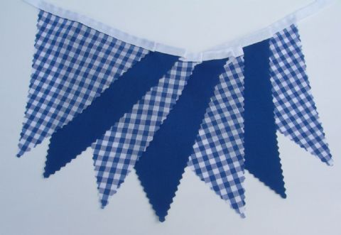 BUNTING Blue Gingham and Plain Blue - 3m/10ft or 5m/16ft